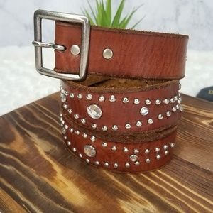 AEO~ Brown Leather Beaded Belt